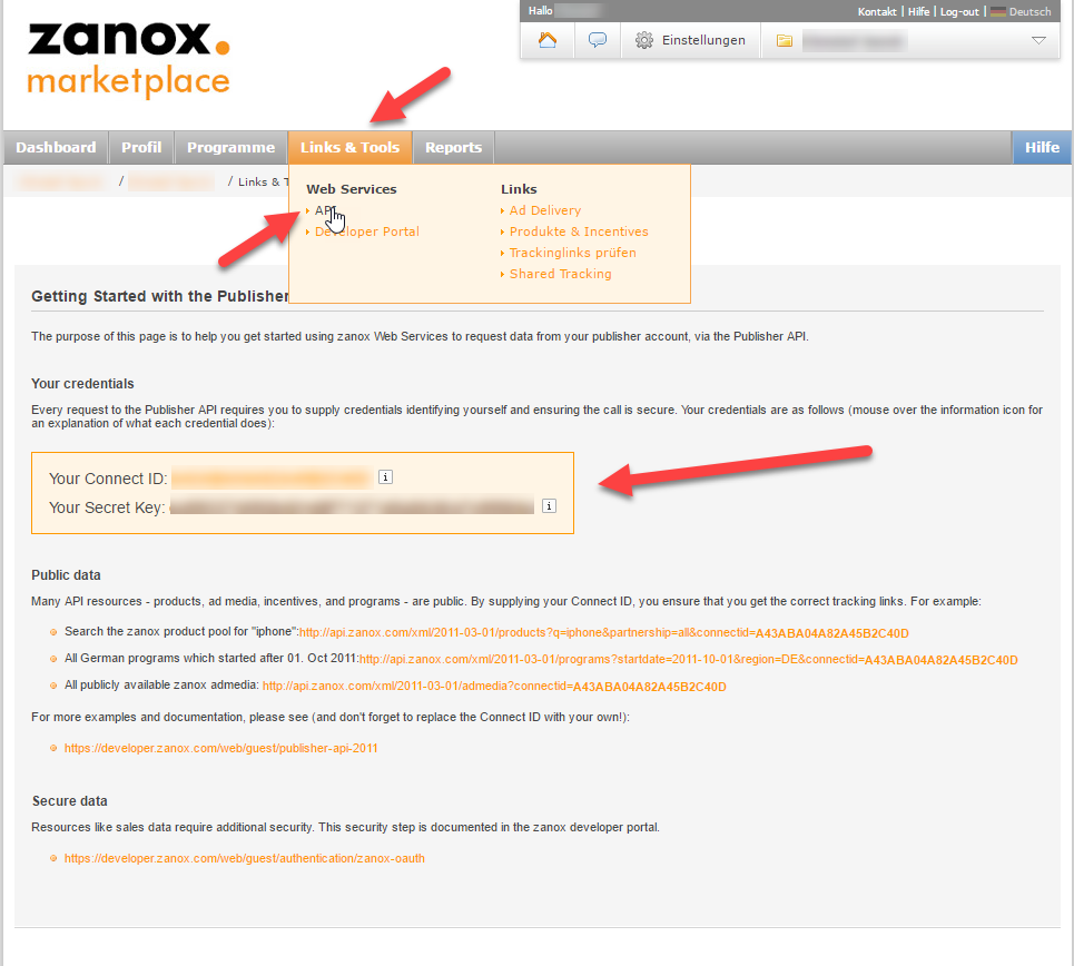 Zanox login